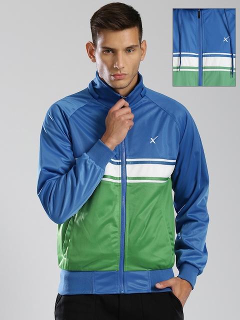 HRX by Hrithik Roshan Blue & Green Reversible Hooded Colourblock Jacket