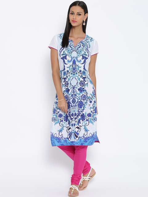 BIBA White & Blue Tropical Print Kurta  available at myntra for Rs.479