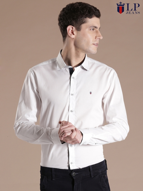 Louis Philippe Jeans White Union Slim Fit Casual Shirt