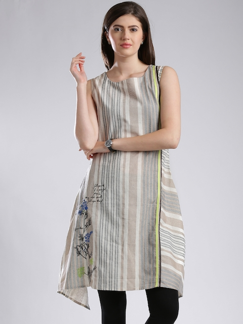 W Beige Striped A-Line Kurta