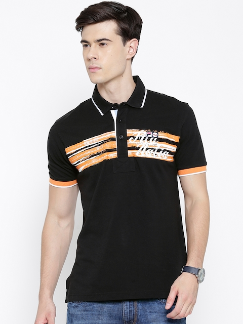 FILA Black Printed Polo T-shirt