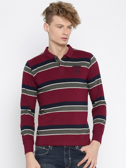 Roadster Men Maroon & Grey Striped Polo T-Shirt