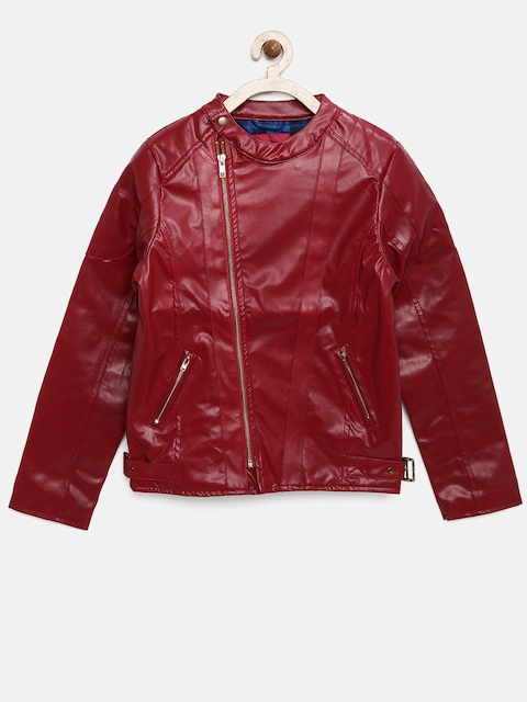 Allen Solly Junior Girls Red Faux Leather Jacket
