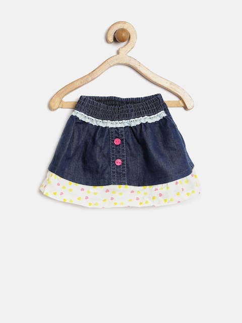 Gini & Jony Baby Girls Navy Heart Print A-Line Skirt