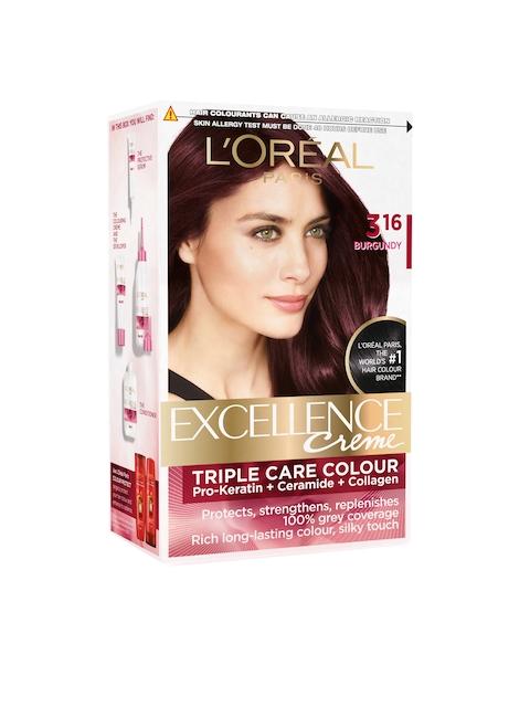 Loreal Paris Excellence Creme Hair Color - Burgundy 316, 72ml + 100gm