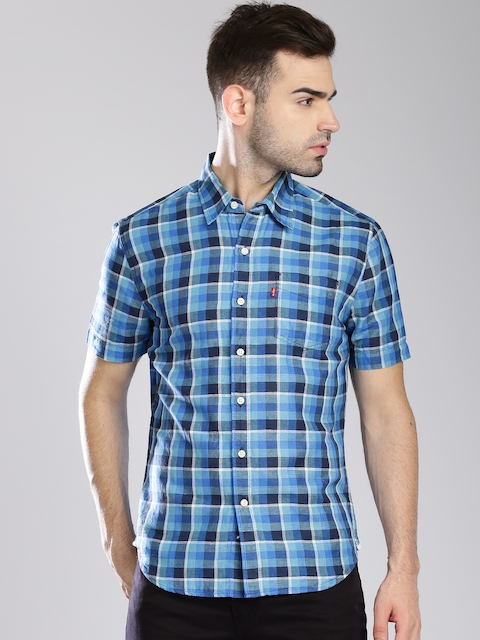 Levi's Blue Checked Linen Slim Fit Casual Shirt