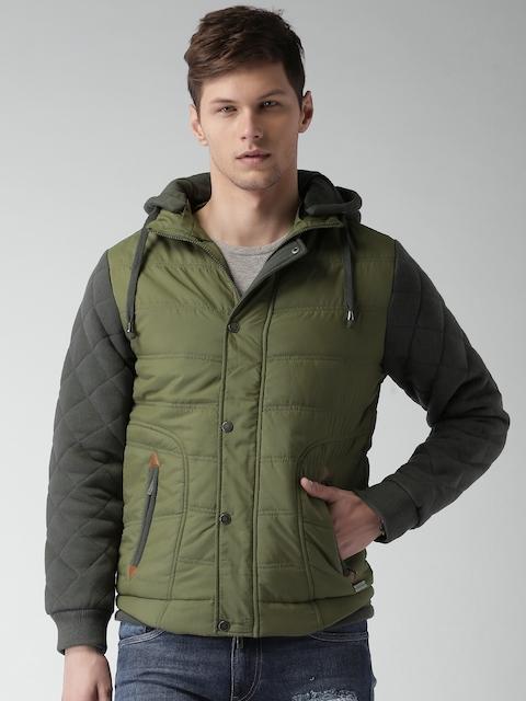 Mast & Harbour Charcoal Grey & Green Colourblock Jacket with Detachable Hood