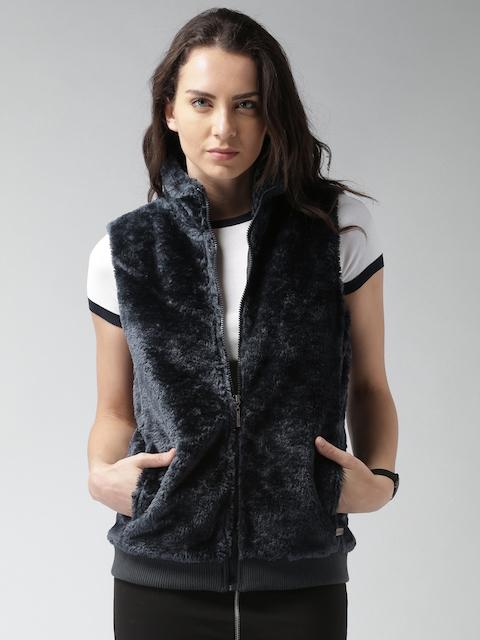 Mast & Harbour Navy Faux-Fur Sleeveless Jacket