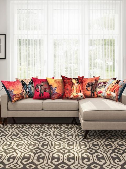 "SEJ by Nisha Gupta Multicoloured 16"" x 16"" Set of 8 Square Cushion Covers"