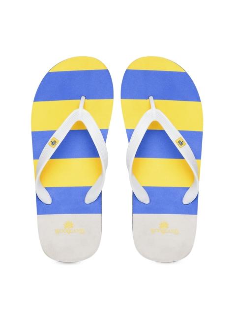 Woodland ProPlanet Men Grey & Yellow Striped Flip-Flops