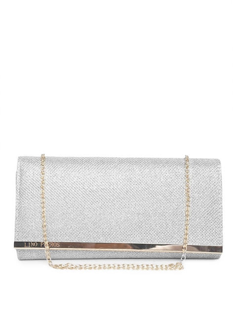 Lino Perros Silver-Toned Textured Shimmer Clutch with Chain Strap