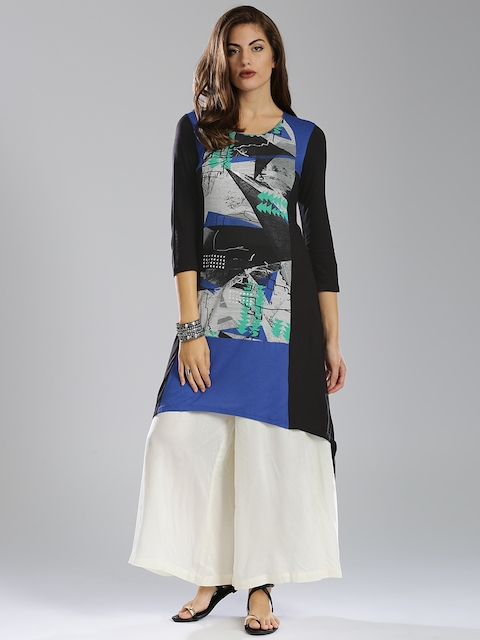 W Black & Blue Printed High-low A-Line Kurta