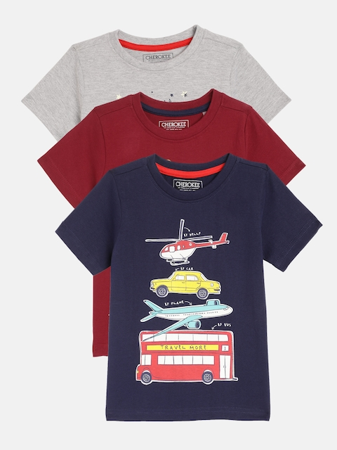 Cherokee Boys Pack of 3 Printed Round Neck T-shirt, Navy blue