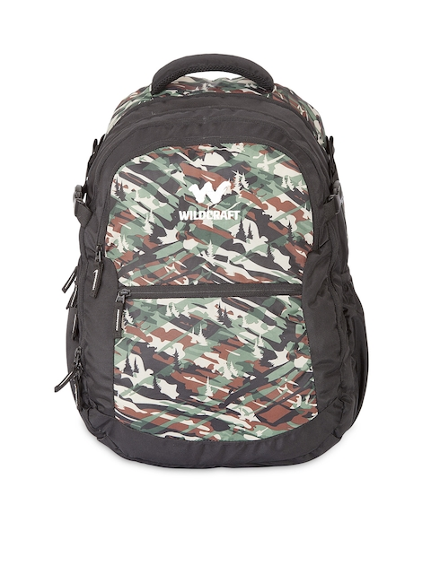 Wildcraft Unisex Black & Green Printed Laptop Backpack
