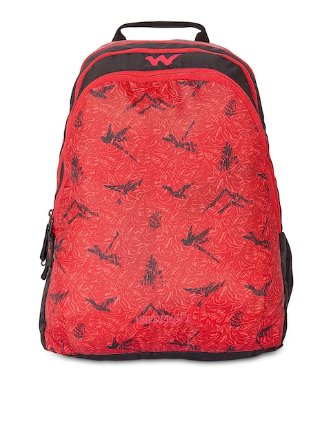 Wildcraft Unisex Red & Black Printed Backpack