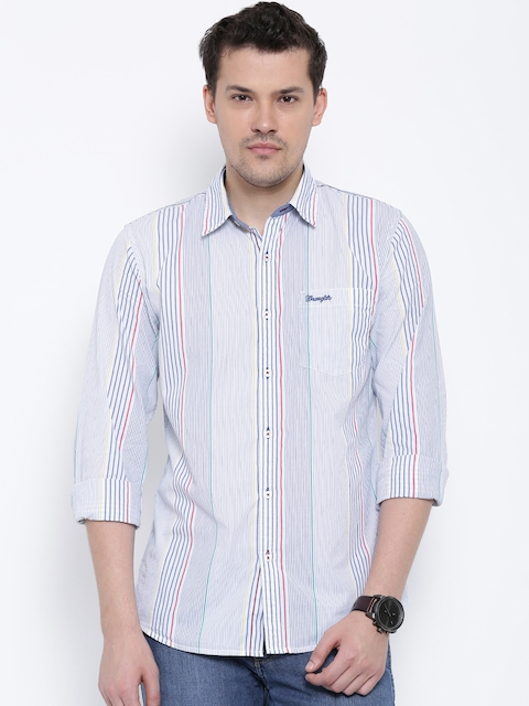 Wrangler White & Blue Striped Casual Shirt