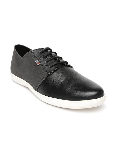 Arrow Men Black Leather Sneakers
