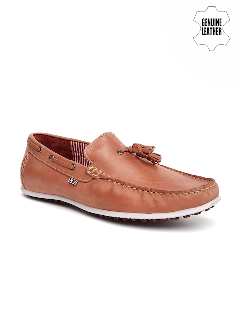 Arrow Men Peach-Coloured Genuine Leather Loafers