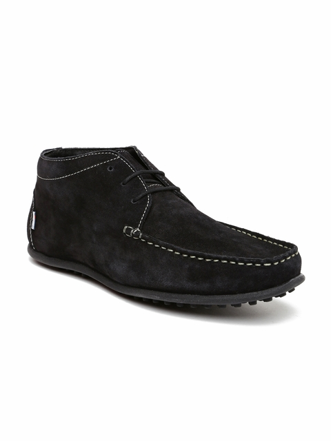 Arrow Men Black Suede Mid-Top Casual Shoes