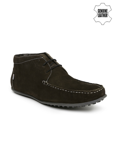 Arrow Men Brown Suede Mid-Top Casual Shoes