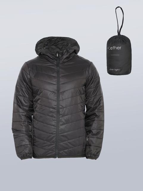 ether Men Black Hooded Uber Light Jacket