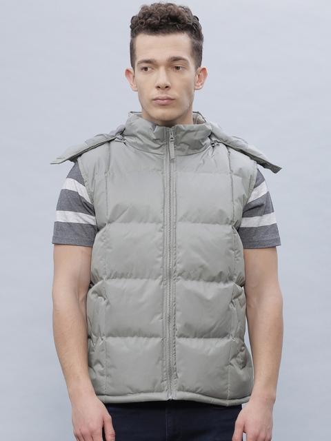ether Grey Sleeveless Puffer Jacket with Detachable Hood