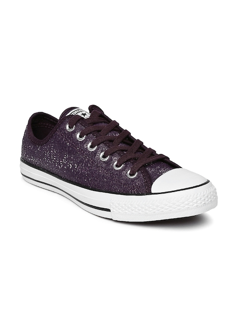Converse Women Burgundy Chuck Taylor Sequinned Sneakers