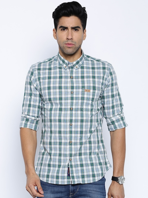 U.S. Polo Assn. Green & White Checked Casual Shirt
