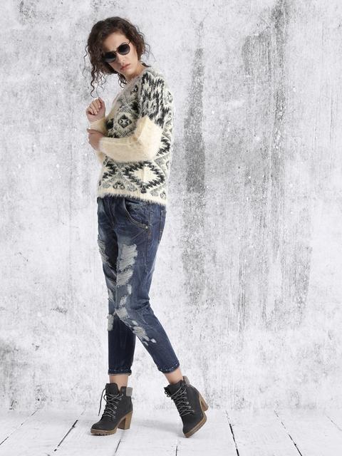 RDSTR Beige & Black Patterned Sweater