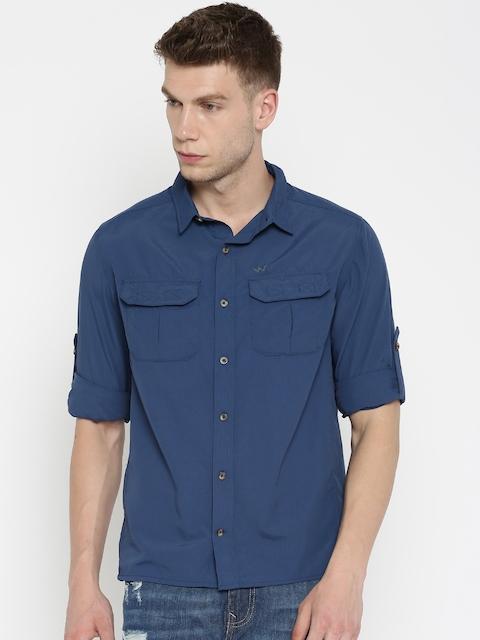 Wildcraft Men Navy Regular Fit Solid Casual Shirt