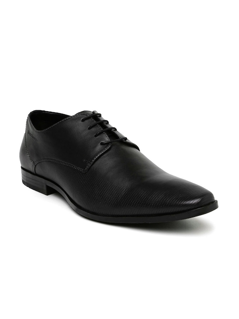 Hush Puppies Men Black Leather Derby Shoes