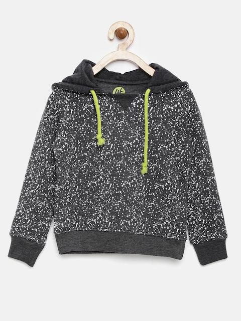 YK Boys Charcoal Grey Printed Hooded Sweatshirt