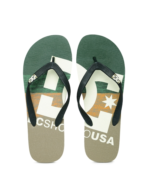 DC Men Green & Beige Printed Flip-Flops