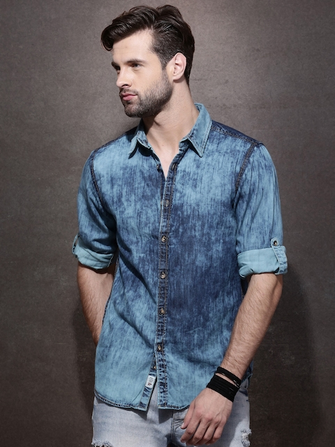 Roadster Men Blue Regular Fit Acid Wash Casual Shirt