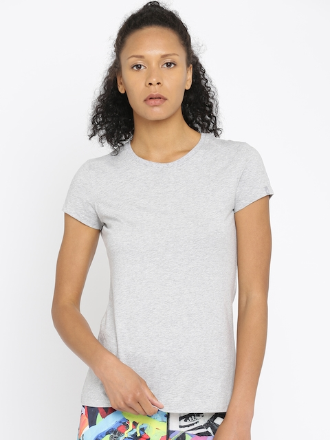 Jockey Women Grey Melange Solid T-shirt