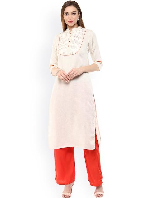 Jaipur Kurti Off-White & Orange Kurta with Palazzo Trousers