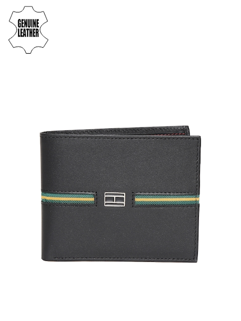 Tommy Hilfiger Men Black Genuine Leather Twofold Wallet