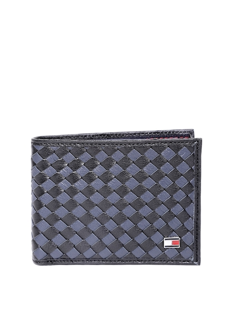 Tommy Hilfiger Men Navy Basketweave Genuine Leather Wallet