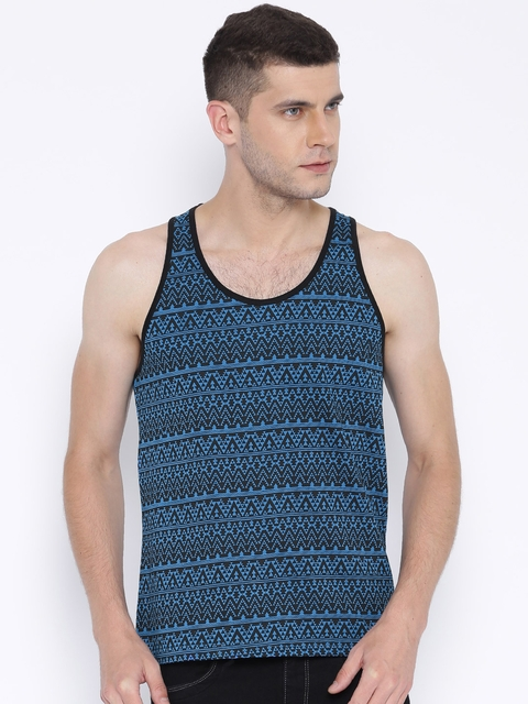 Aventura Outfitters Blue Aztec Print Sleeveless T-shirt  available at myntra for Rs.179