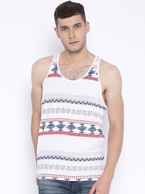 Aventura Outfitters White Aztec Print Sleeveless T-shirt  available at myntra for Rs.179