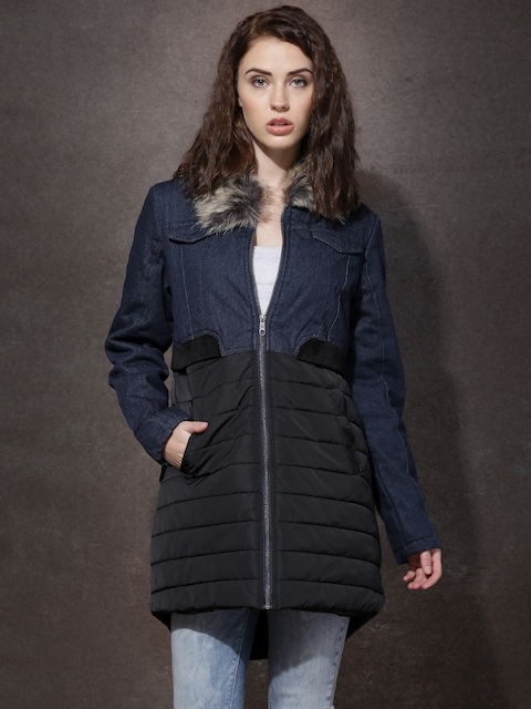 RDSTR Blue & Black Padded Parka with Detachable Faux Fur Trim