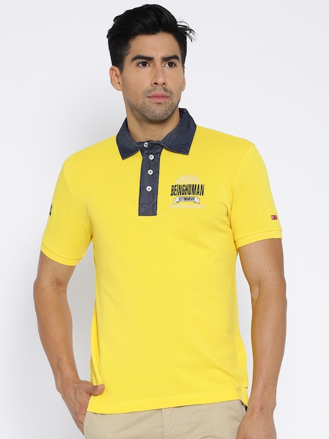 Being Human Clothing Yellow Polo T-shirt