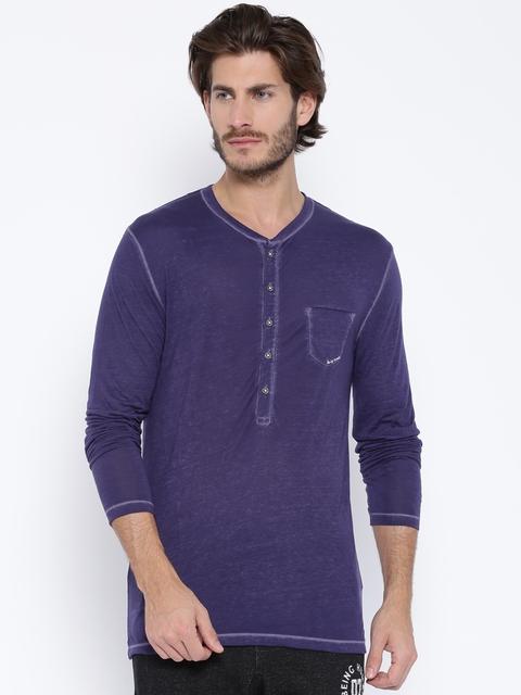 Being Human Clothing Purple Henley T-shirt