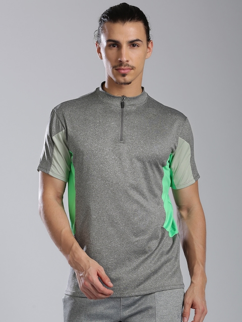 HRX by Hrithik Roshan Men Grey Melange Round Neck T-shirt
