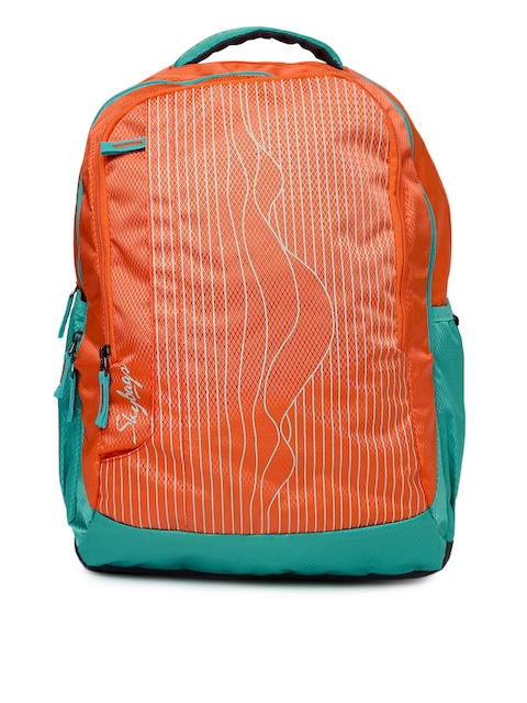 Skybags Unisex Orange & Green Printed Footloose Helix 01 Backpack  available at myntra for Rs.996