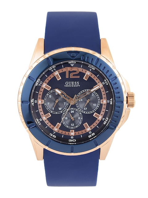 GUESS Men Blue Textured Multifunction Dial Watch W0485G1