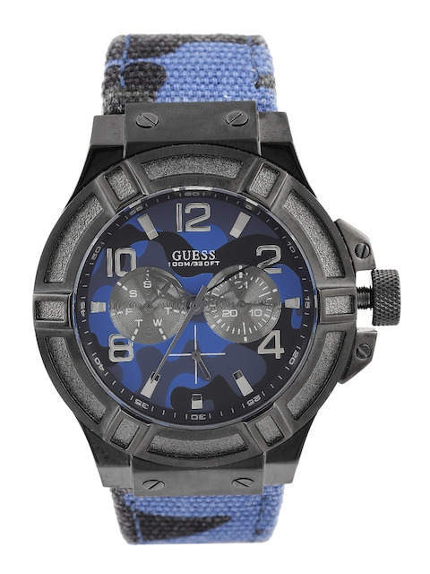 GUESS Men Blue Camouflage Print Multifunction Dial Watch W0407G2