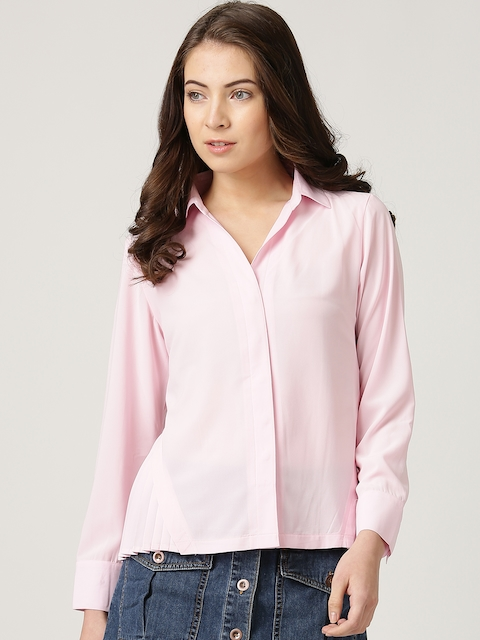 Marie Claire Pink Crepe Comfort Fit Shirt