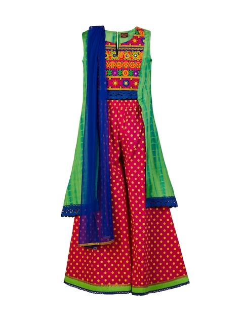Twisha Girls Green & Pink Printed Kurta with Palazzo Trousers & Dupatta