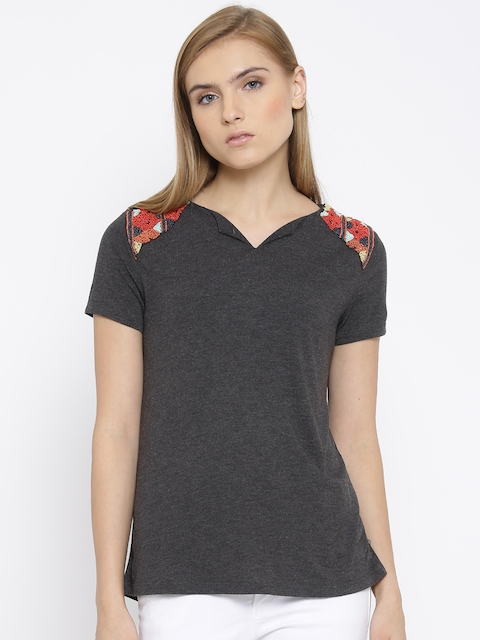 Vero Moda Charcoal Grey Embellished Top